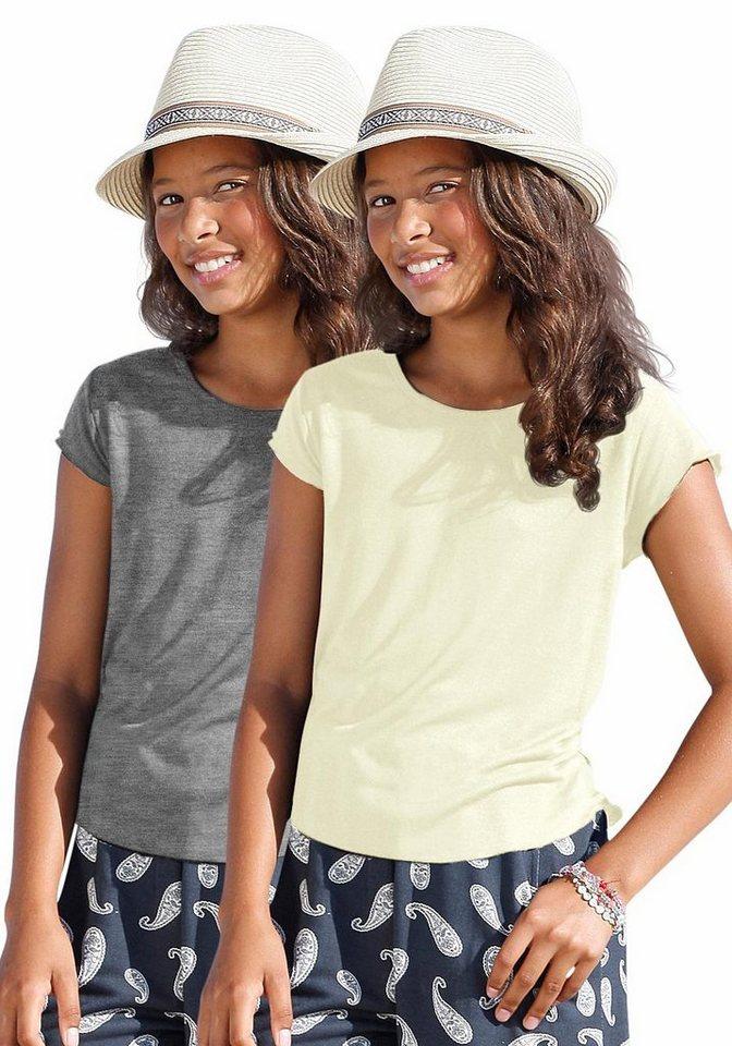 Arizona T-Shirt (2 Stück), für Mädchen in Natur-Grau-Meliert