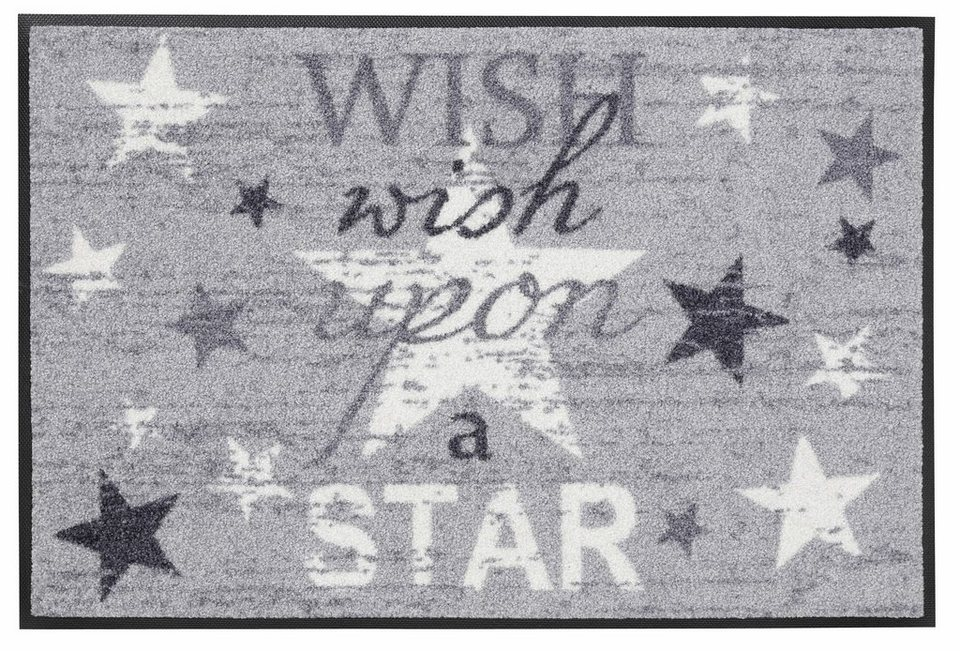 Fußmatte, wash+dry by Kleen-Tex, »Wish upon a star«, rutschhemmend beschichtet in grau-weiß