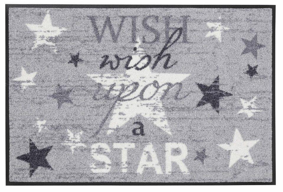 Fußmatte »Wish upon a star«, wash+dry by Kleen-Tex, rechteckig, Höhe 7 mm in grau-weiß