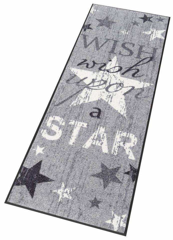 Läufer, wash+dry by Kleen-Tex, »Wish upon a star«, Waschbar in grau-weiß