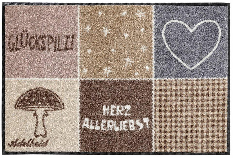 Fußmatte, wash+dry by Kleen-Tex, »Herzallerliebst«, rutschhemmend beschichtet in beige-grau
