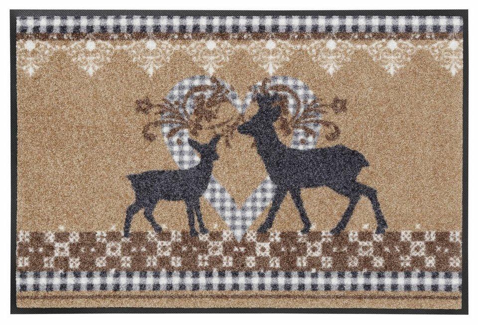 Fußmatte, wash+dry by Kleen-Tex, »Lovely Deers«, rutschhemmend beschichtet in beige-grau