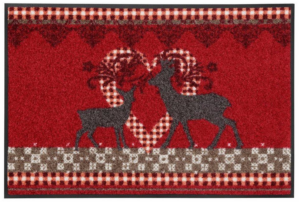 Fußmatte »Lovely Deers«, wash+dry by Kleen-Tex, rechteckig, Höhe 7 mm in rot-beige