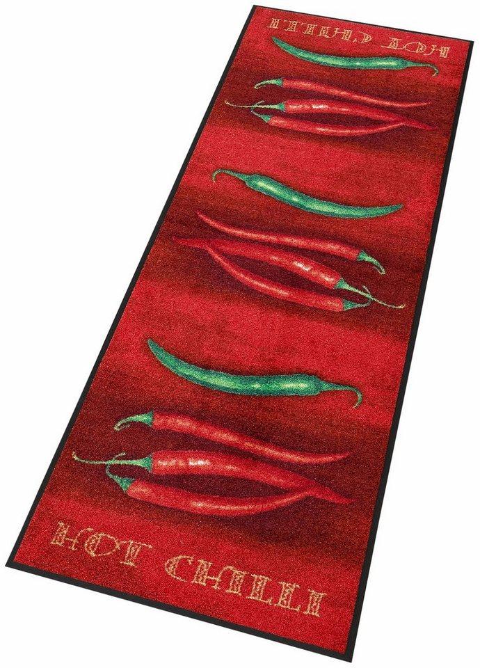 Küchenläufer, wash+dry by Kleen-Tex, In- und Outdoor, »Hot Chili«, waschbar in rot-grün