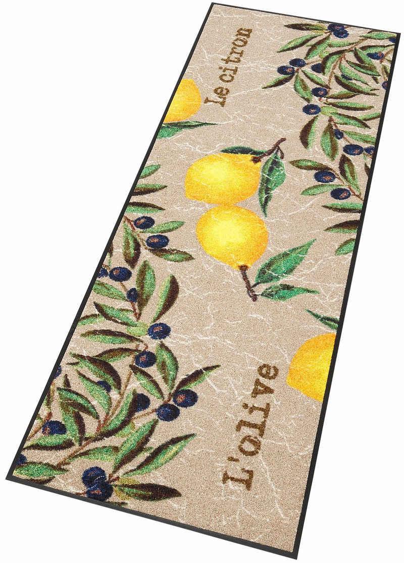 Küchenläufer »Le Citron«, wash+dry by Kleen-Tex, rechteckig, Höhe 7 mm, In- und Outdoor geeignet
