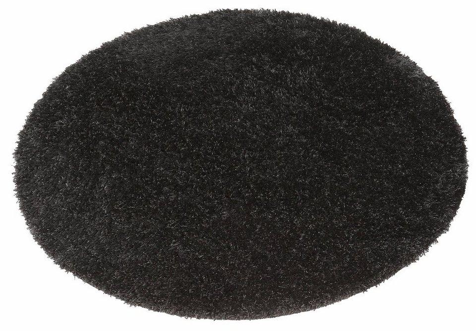 Hochflor-Teppich, rund, my home, »Tokyo«, Höhe 40 mm in schwarz