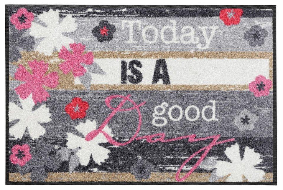 Fußmatte »Good Day«, wash+dry by Kleen-Tex, rechteckig, Höhe 7 mm in bunt
