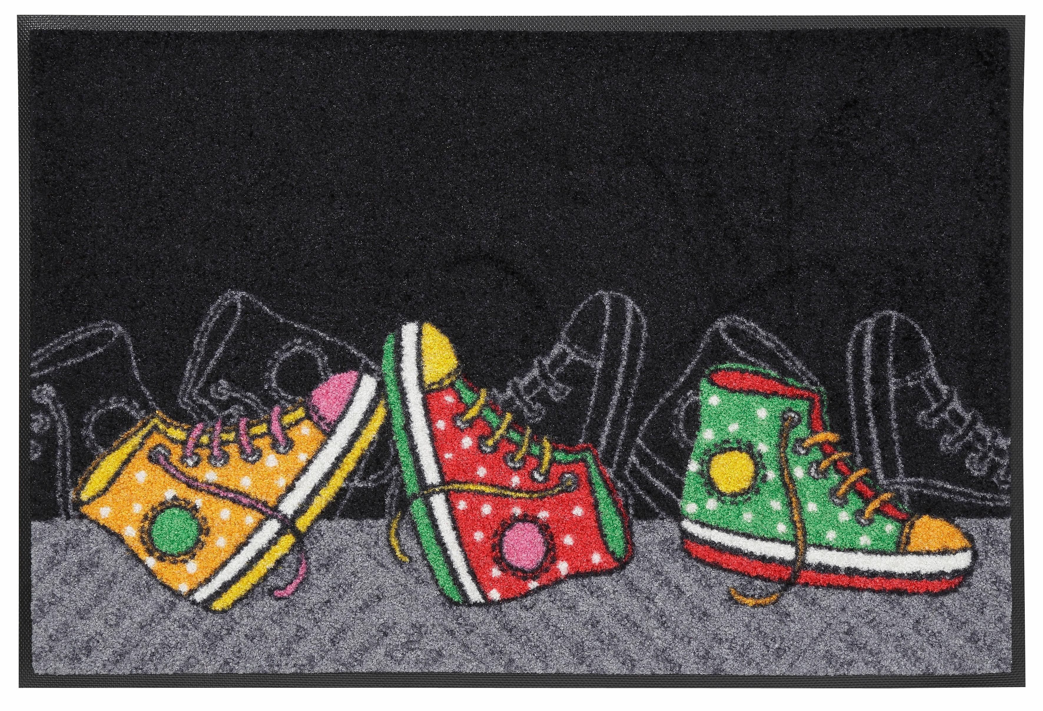Fußmatte »Happy Sneakers«, wash+dry by Kleen-Tex, rechteckig, Höhe 7 mm