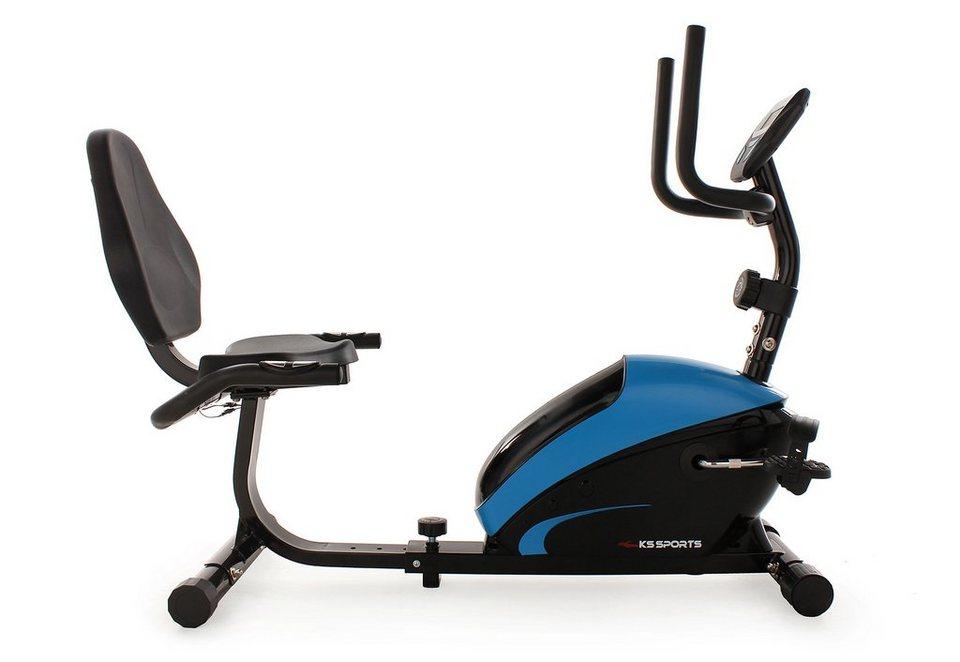 KS SPORTS Recumbent Bike, schwarz-blau, »303F« in schwarz-blau