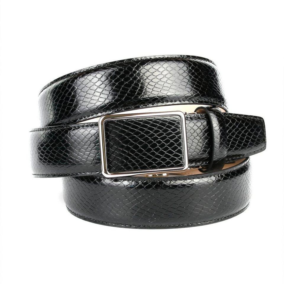 Anthoni Crown Ledergürtel mit Schlangenmuster in Schwarz