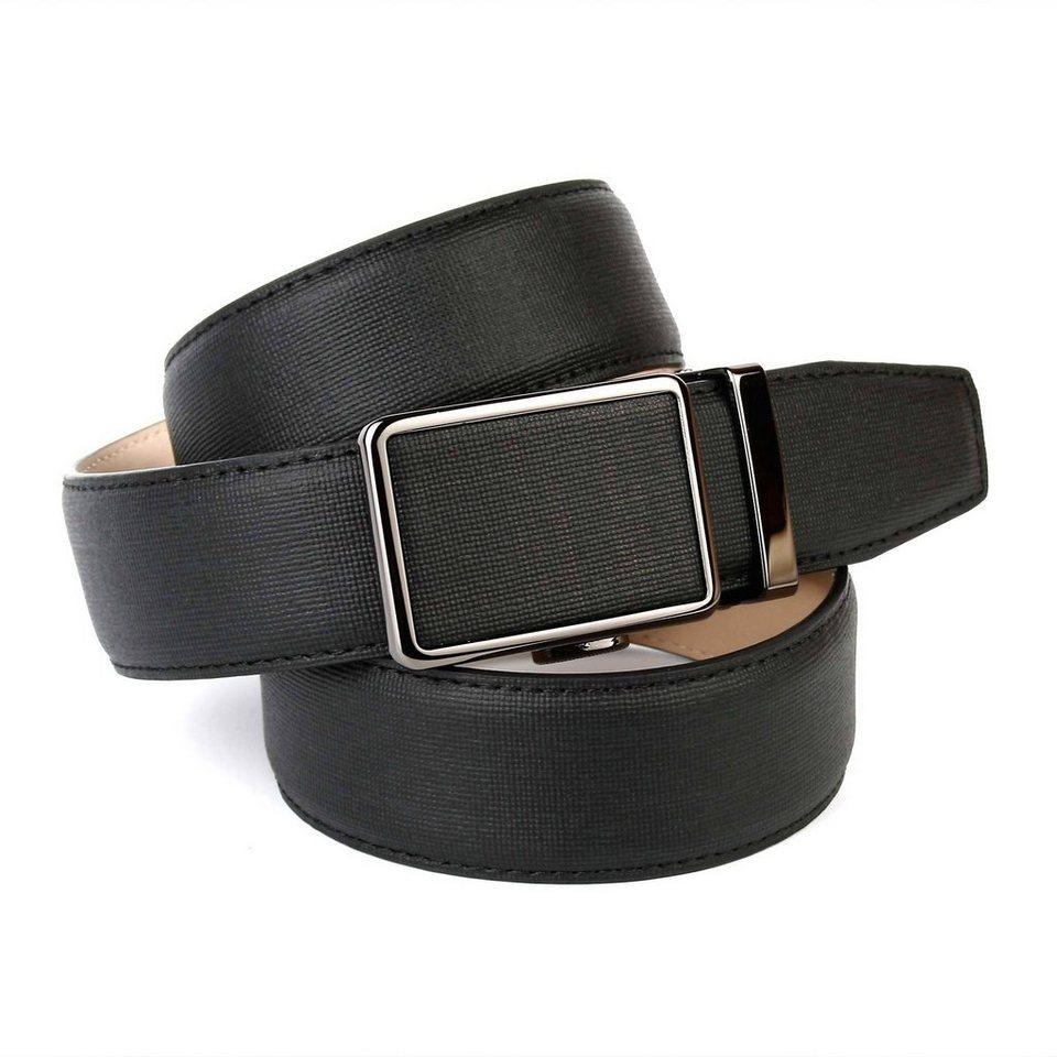 Anthoni Crown Ledergürtel mit Leinenstoffmuster in Schwarz