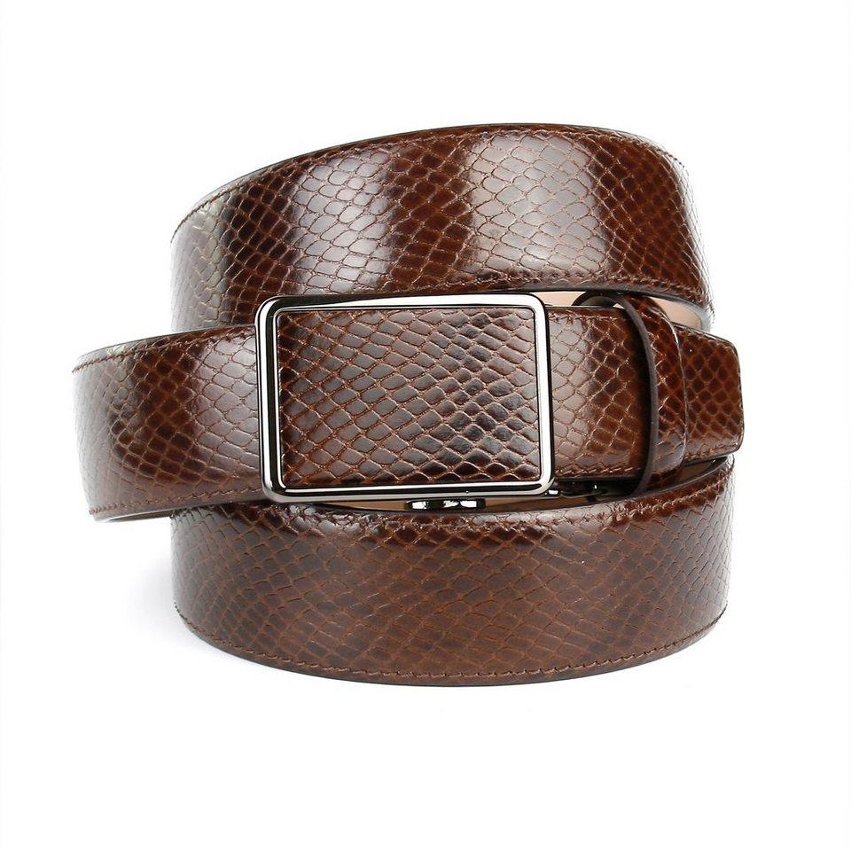 Anthoni Crown Ledergürtel mit Schlangenmuster in Braun