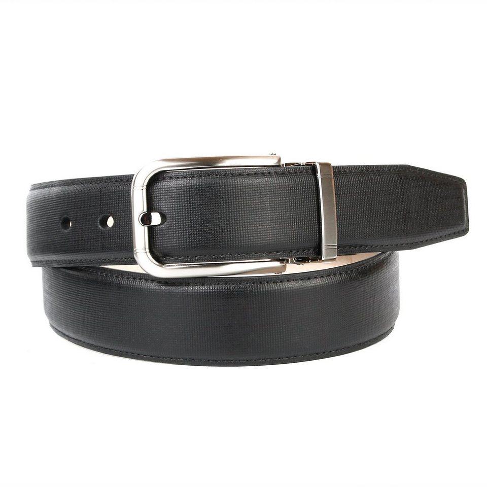 Anthoni Crown Klassischer Ledergürtel matt in Schwarz