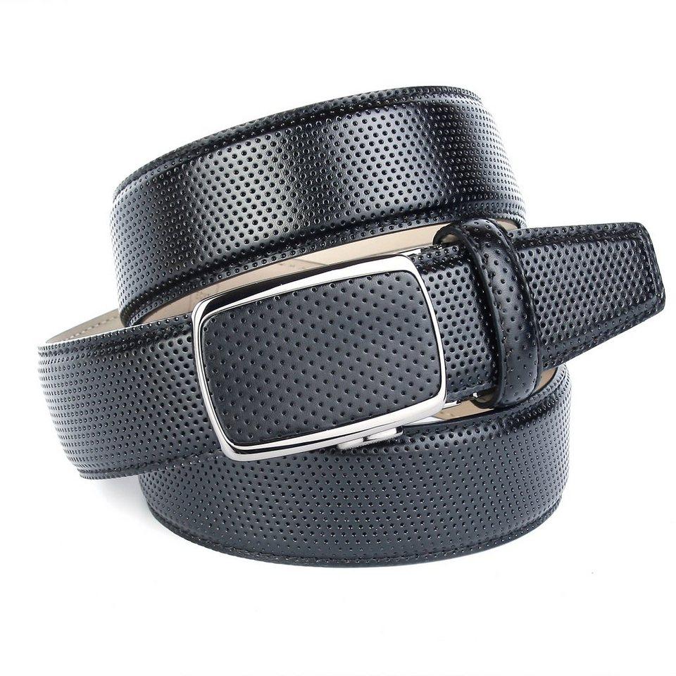 Anthoni Crown Gürtel für braune Schuhe mit perforiertem Leder in Schwarz
