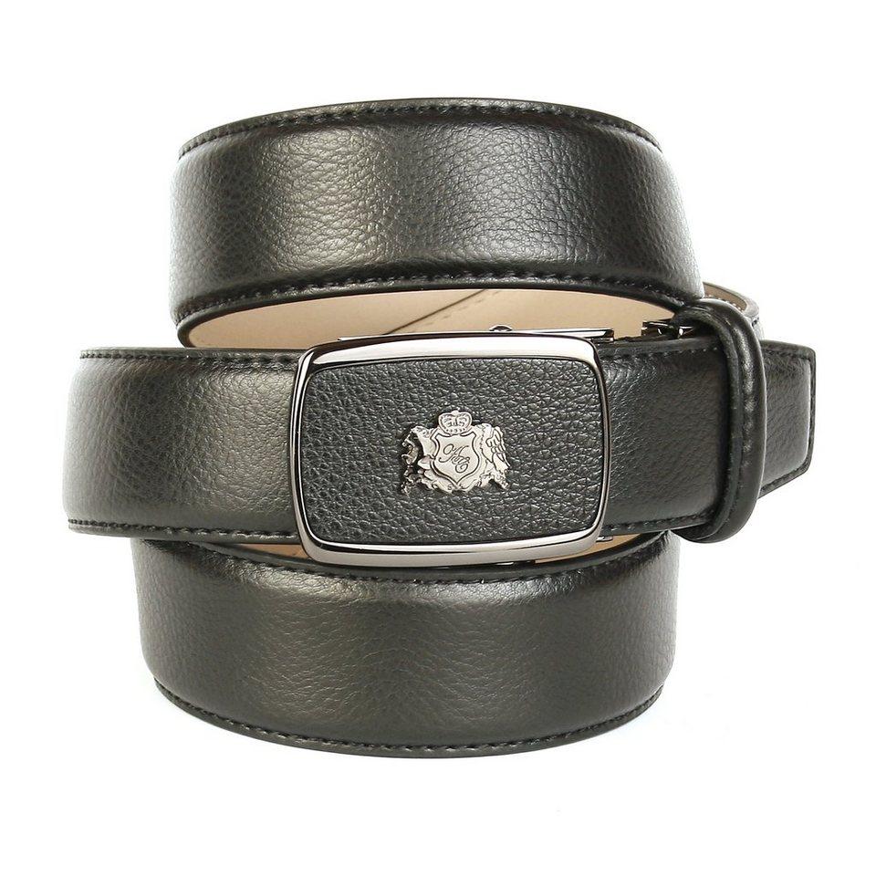 Anthoni Crown Ledergürtel genarbt in Schwarz