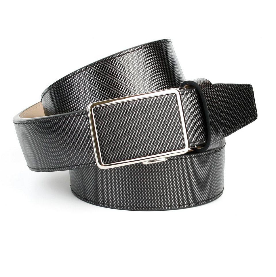 Anthoni Crown Ledergürtel für Freizeithosen in Grau