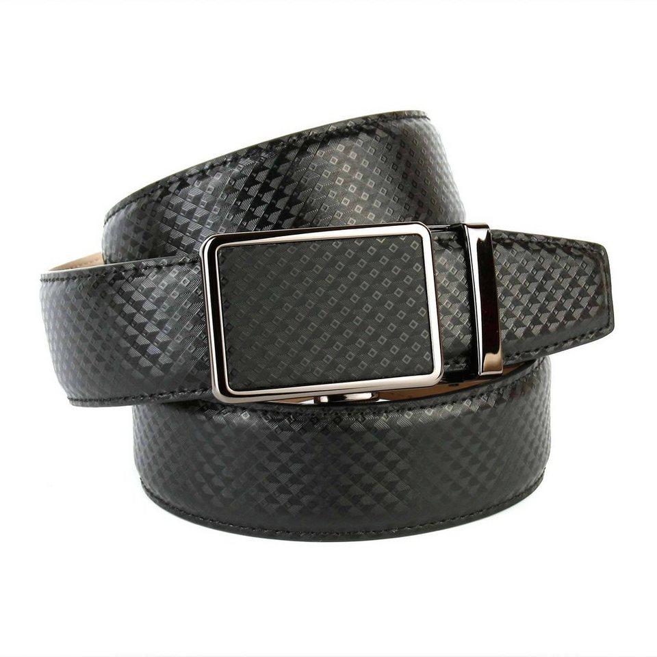 Anthoni Crown Ledergürtel mit Designmuster in Schwarz
