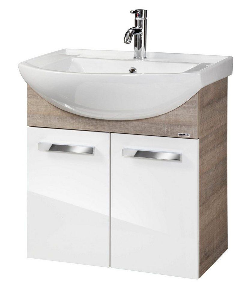 Waschtisch »A-Vero«, Breite 66 cm, (2-tlg.) in weiß/eichefarben grau