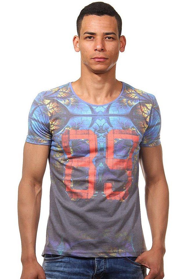 R-NEAL T-Shirt Rundhals slim fit in blau