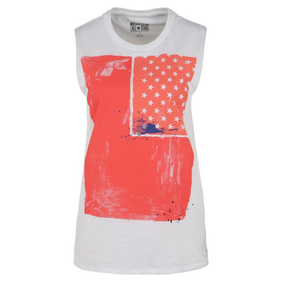 CONVERSE Painted Flag Muscle Shirt Damen in rot / weiß