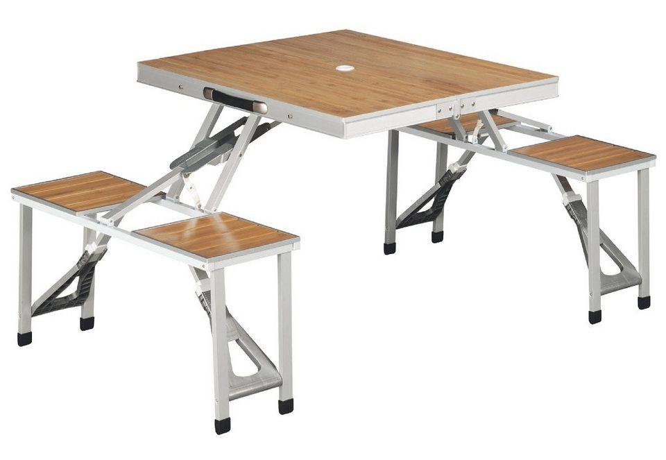 Outwell Set: Picknicktisch mit integrierten 4 Stühlen, »Dawson« in silber-braun