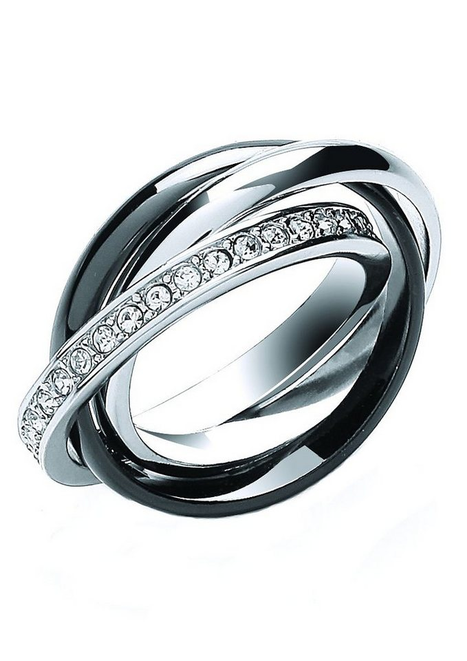 Buckley London Ring, »Midnight Russion Collection« in silberfarben/teilweise schwarz rhodiniert
