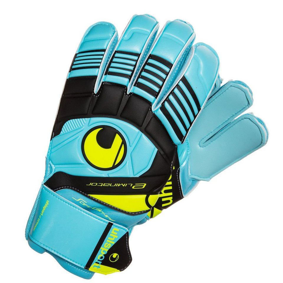 UHLSPORT Eliminator Soft Torwarthandschuh in blau/schwarz/gelb