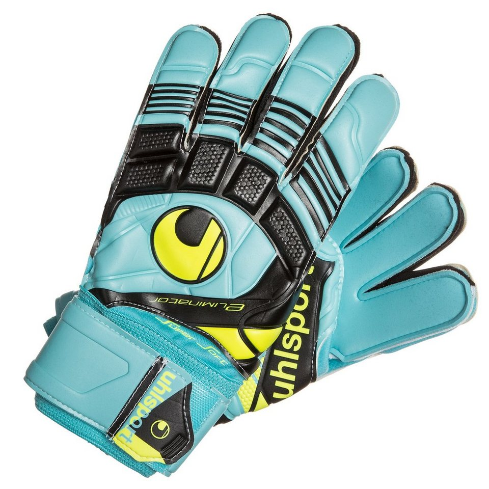 UHLSPORT Eliminator Supersoft Torwarthandschuh in blau/schwarz/gelb