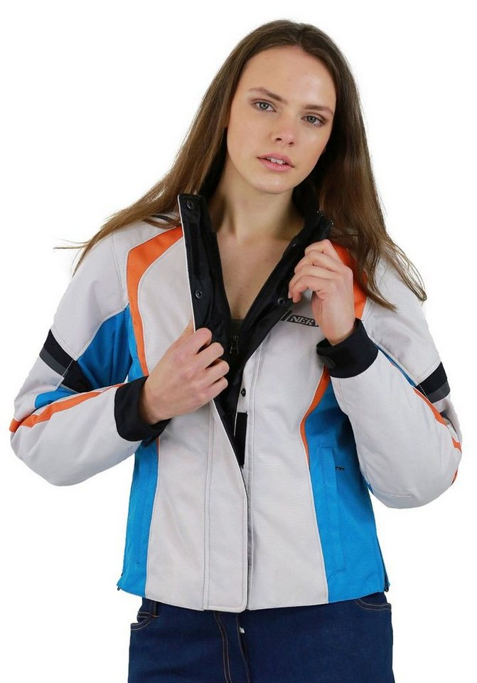 Damenmotorradjacke »Artemis« in beige/blau