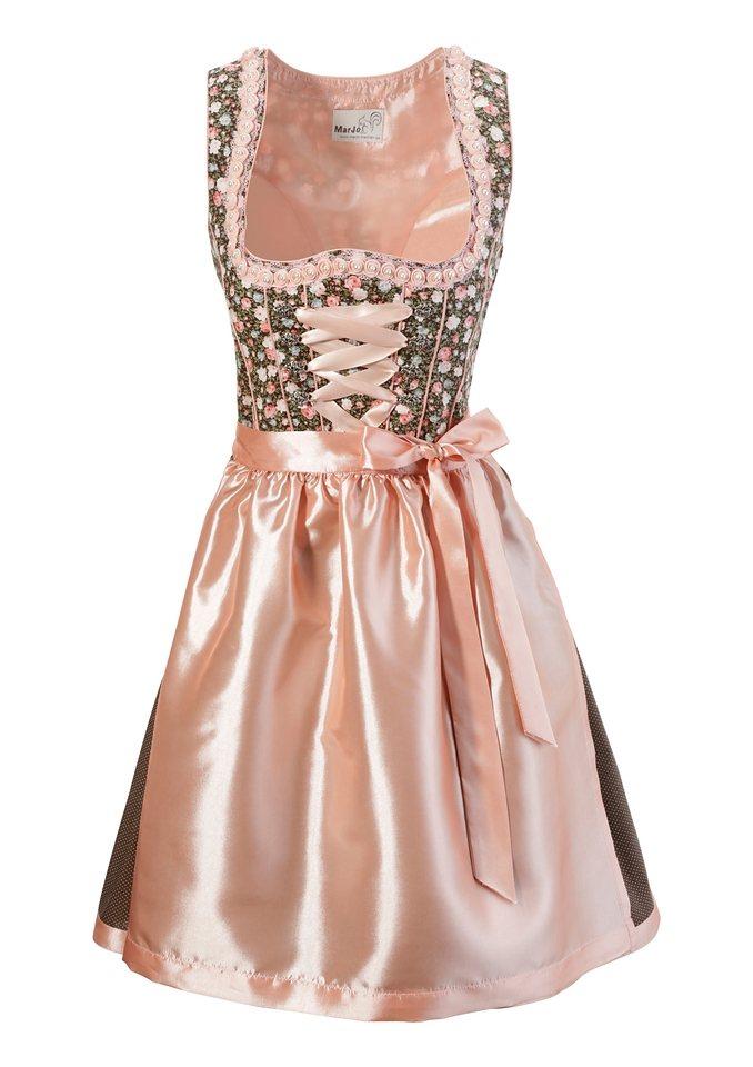 Damen MarJo Dirndl kurz mit Perlen braun | 04260414390227
