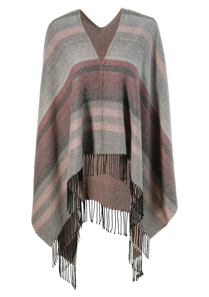 Poncho im Streifendesign in rose/grau