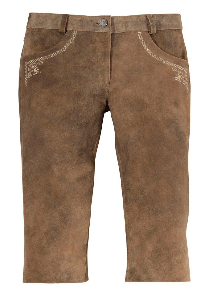 Damen Lederhose 3/4 lang, bestickt, Country Line in taupe