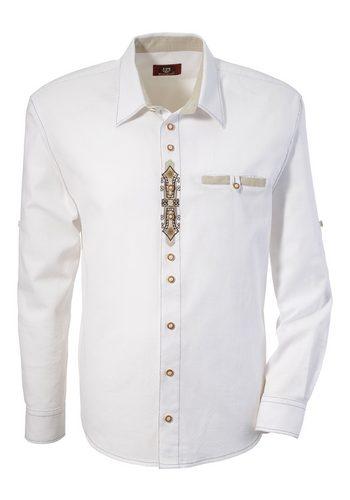 Herren Trachtenhemd mit Stickerei, OS-Trachten weiß   04006109082295