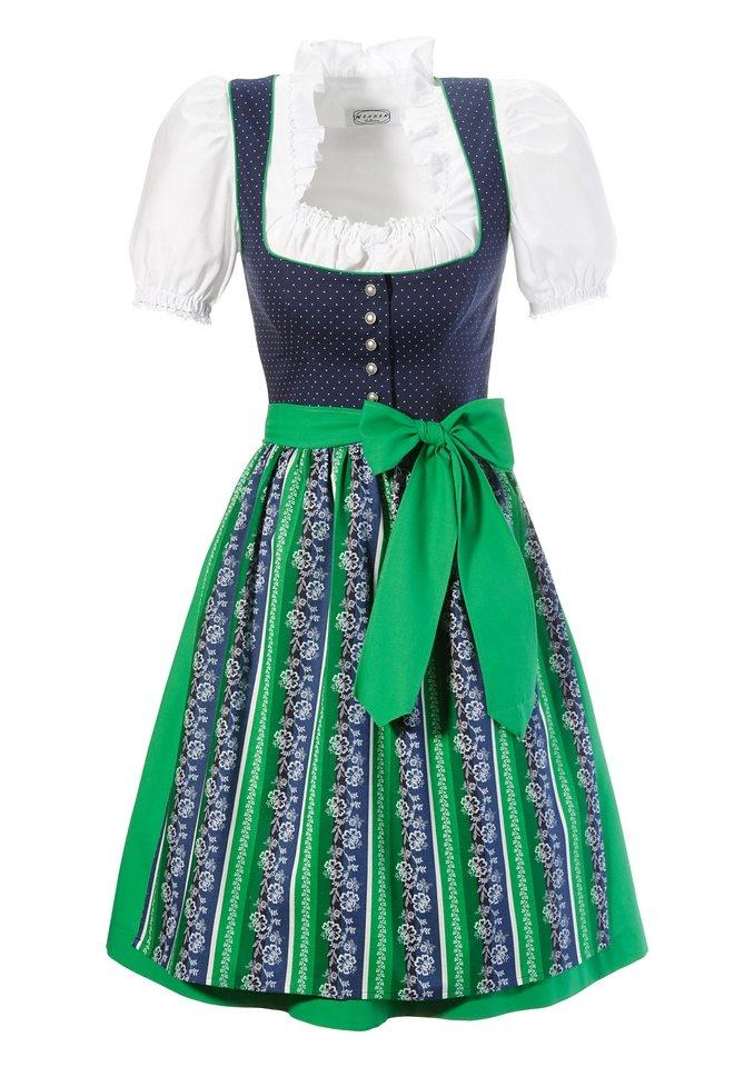 Kurzes Dirndl aus reiner Baumwolle, Hannah (3tlg.) in blau/grün