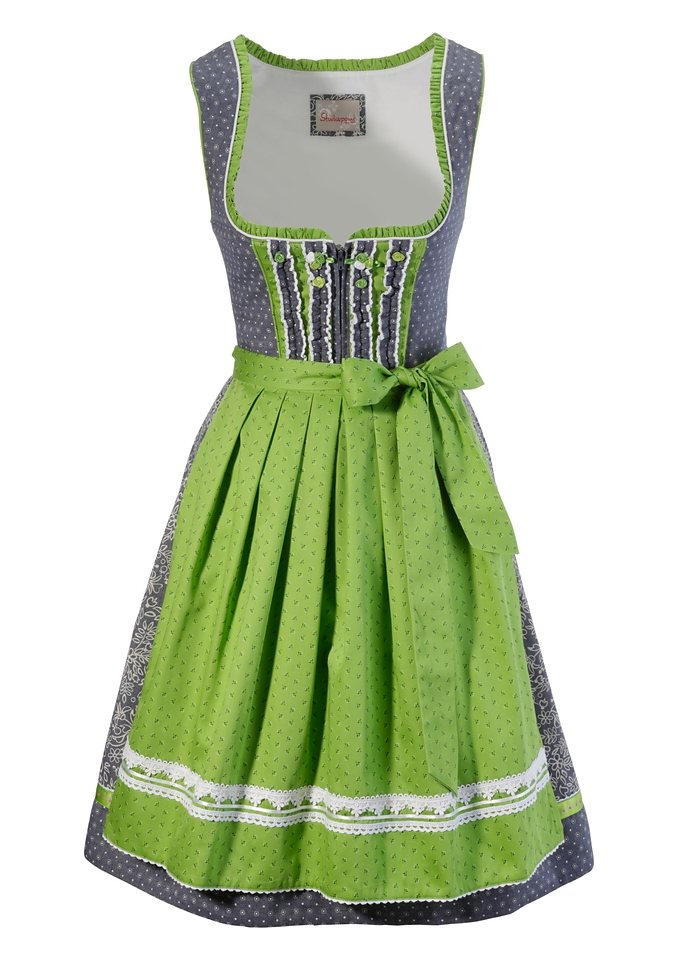 Dirndl midi in Jeansoptik, Stockerpoint in apfel