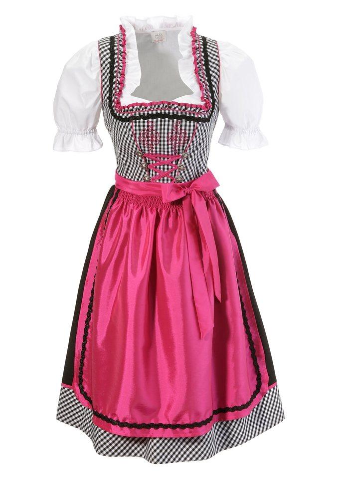 Dirndl mit Rüschen (3tlg.) in schwarz/pink