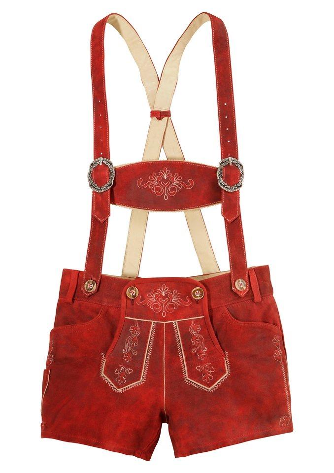 Damen Lederhose, bestickt, Country Line in rot