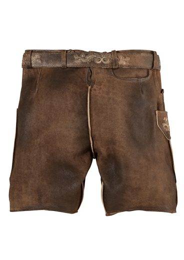 Mens Leather Pants Short, With Embroidery, Marjo