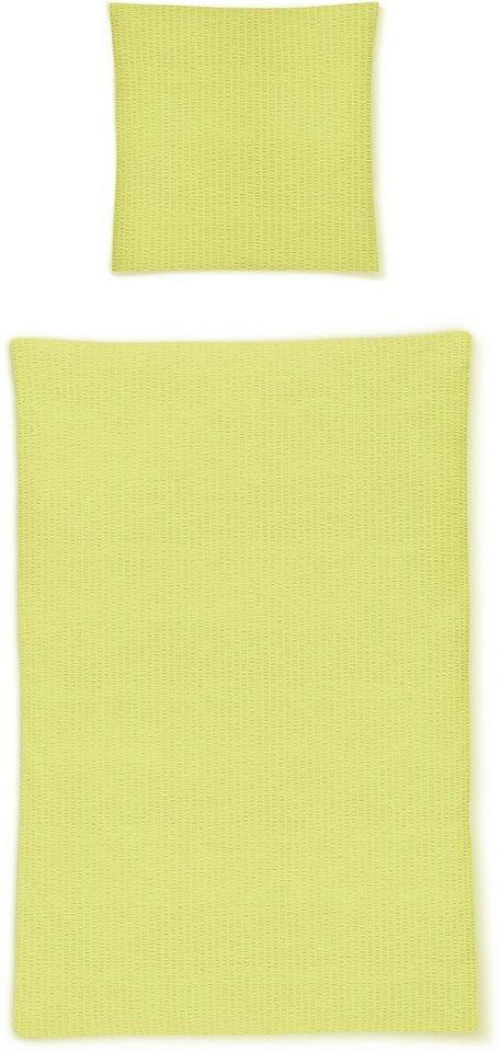Bettwäsche, Irisette, »Calypso 8726«, einfarbig gehalten in grün