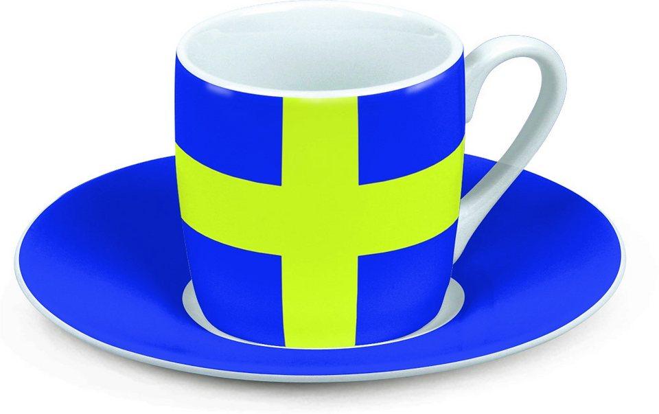 Könitz Espressotasse »Schweden« in Blau, Gelb