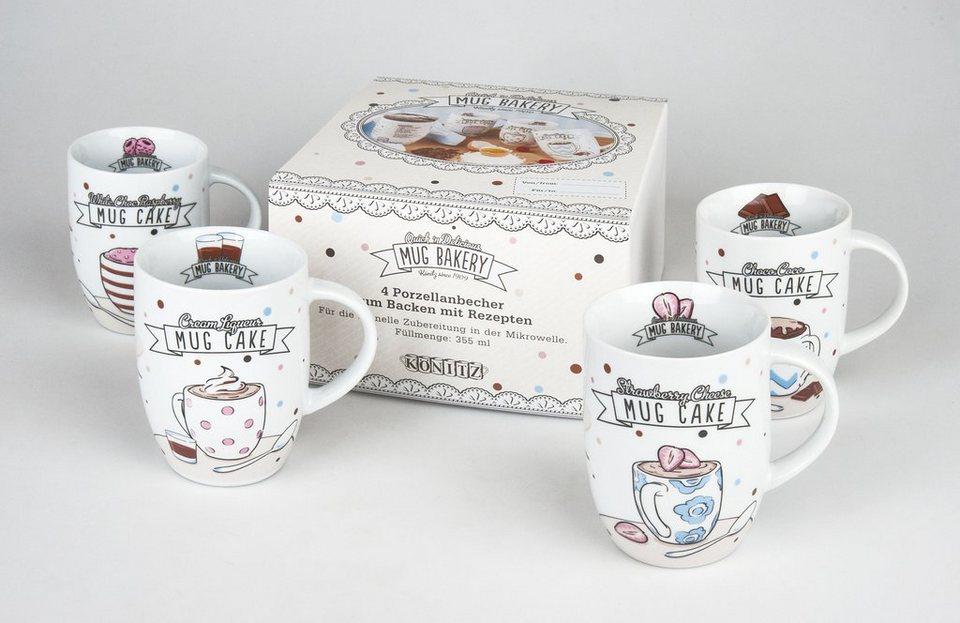 Könitz 4er Becher + Geschenkkarton »Mug Bakery« in Bunt
