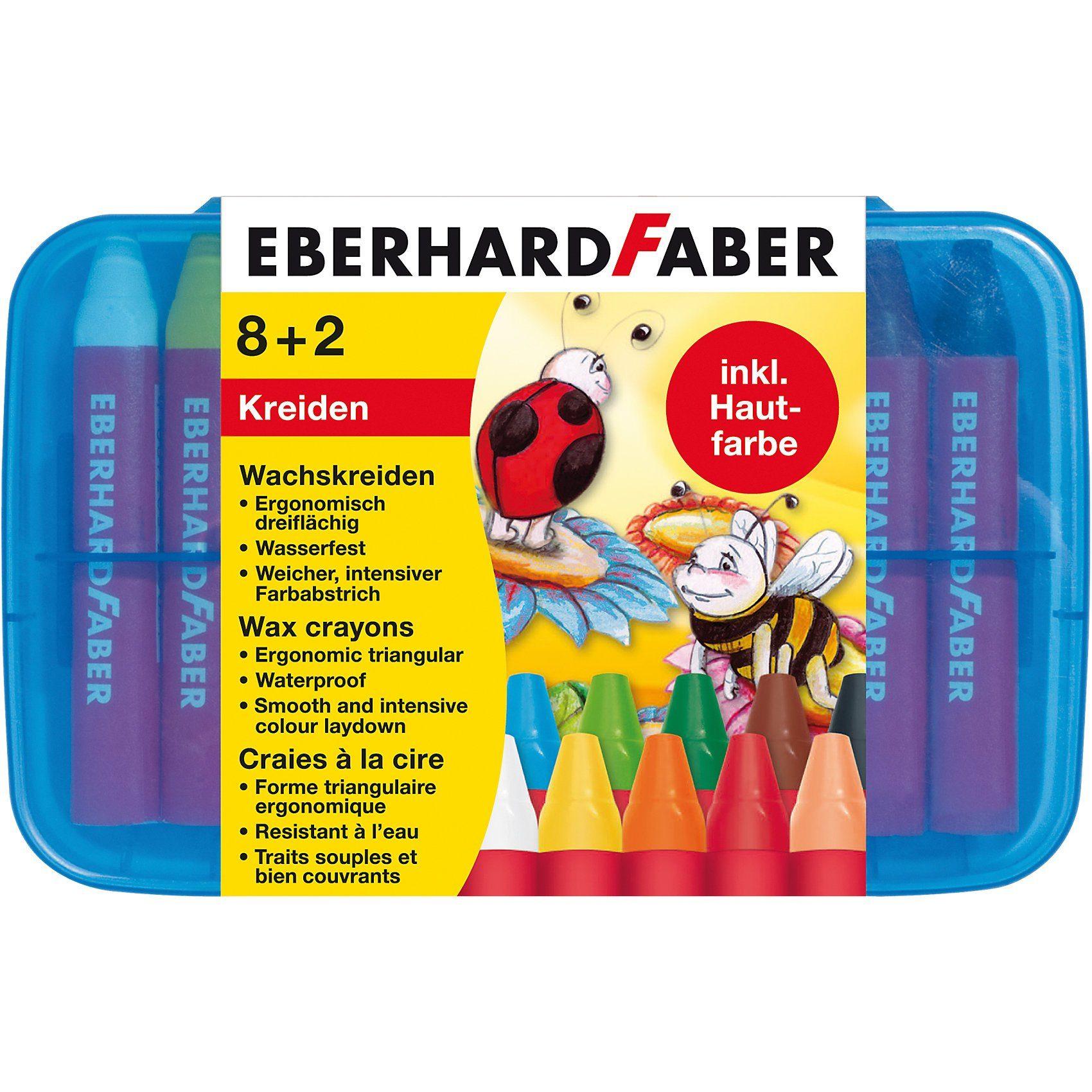 Eberhard Faber Wachsmalkreide wasserfest, 8 & 2 Farben