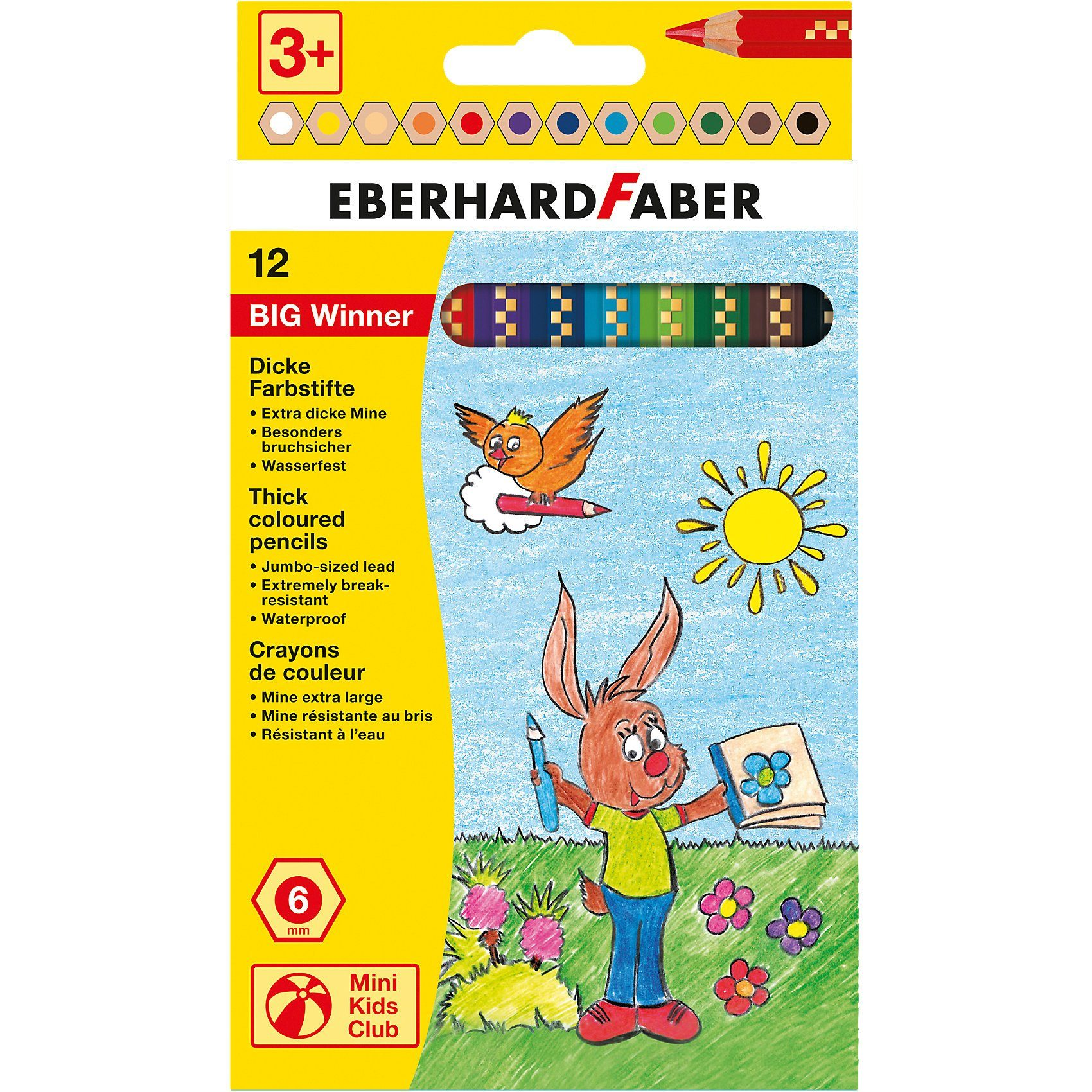 Eberhard Faber Mini Kids Jumbo-Buntstifte Big Winner, 12 Farben