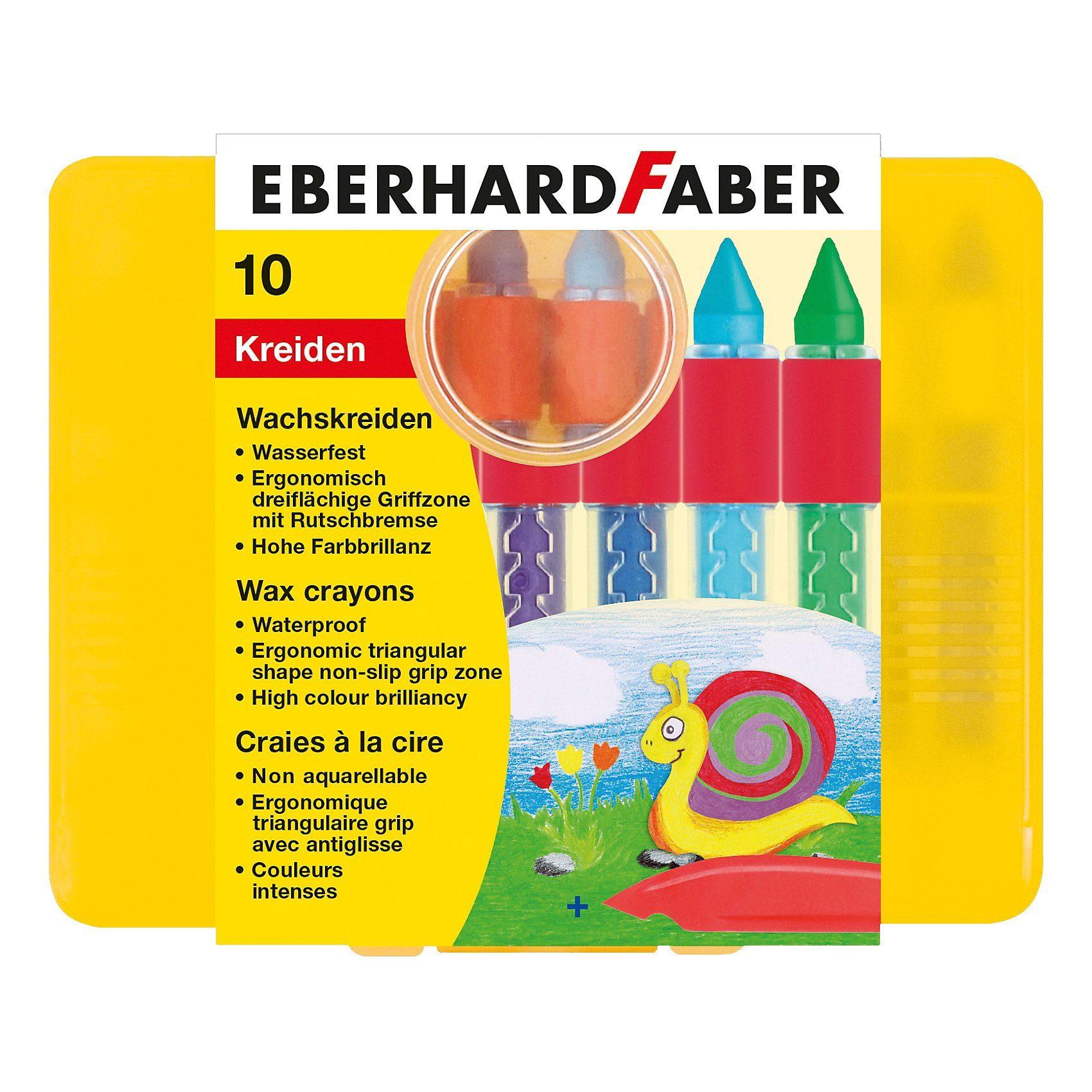 Eberhard Faber Wachsmalkreide wasserfest mit Schiebehülse, 10 Farben