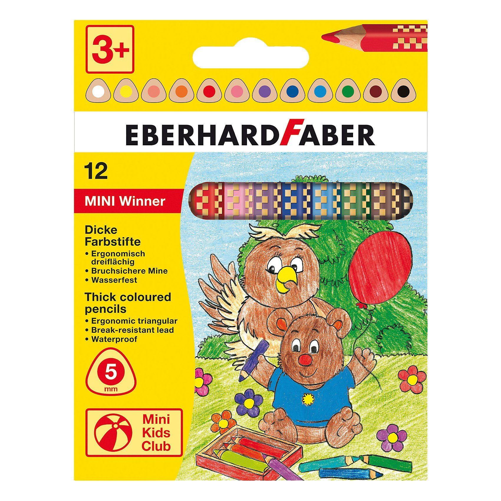Eberhard Faber Mini Kids Jumbo-Buntstifte Mini Winner, 12 Farben