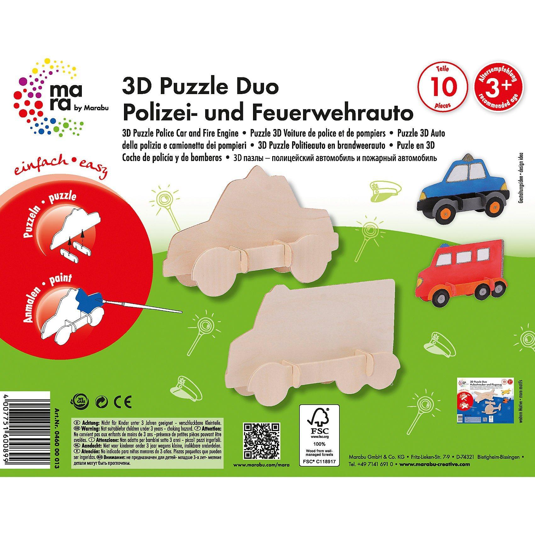 Marabu mara 3D Holzbausatz Polizei- & Feuerwehrauto | Kinderzimmer > Spielzeuge > Sonstige Spielzeuge | Marabu