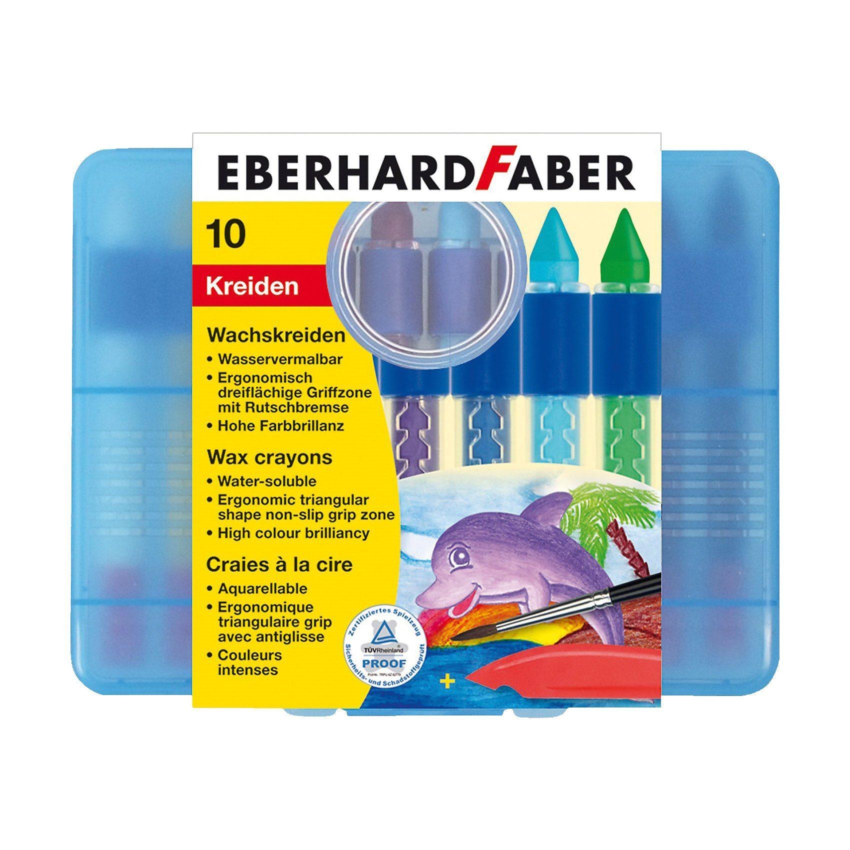 Eberhard Faber Wachsmalkreide wasservermalbar mit Schiebehülse, 10 Farben