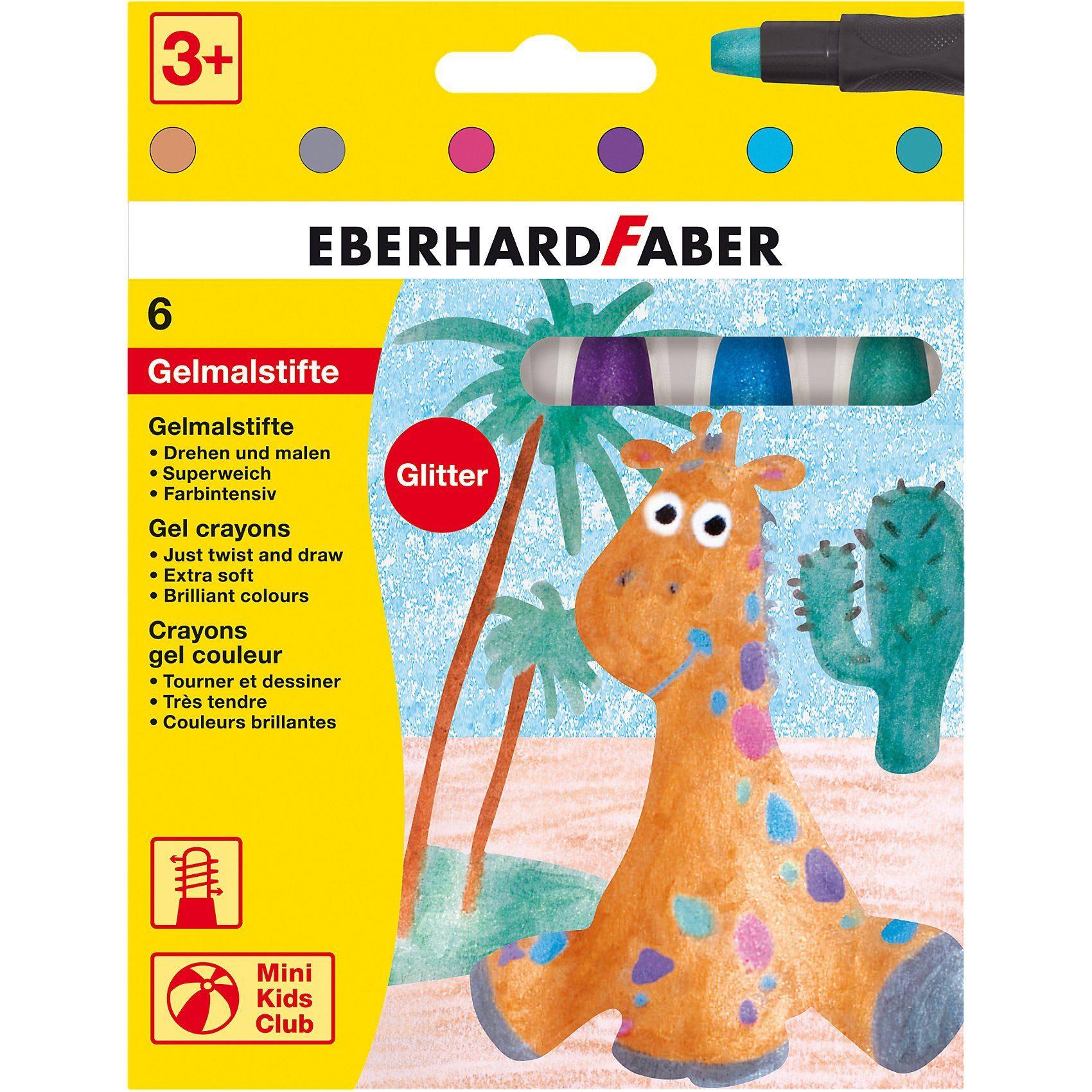 Eberhard Faber Mini Kids Gelmalstifte/Fenstermaler, 6 Glitter-Farben
