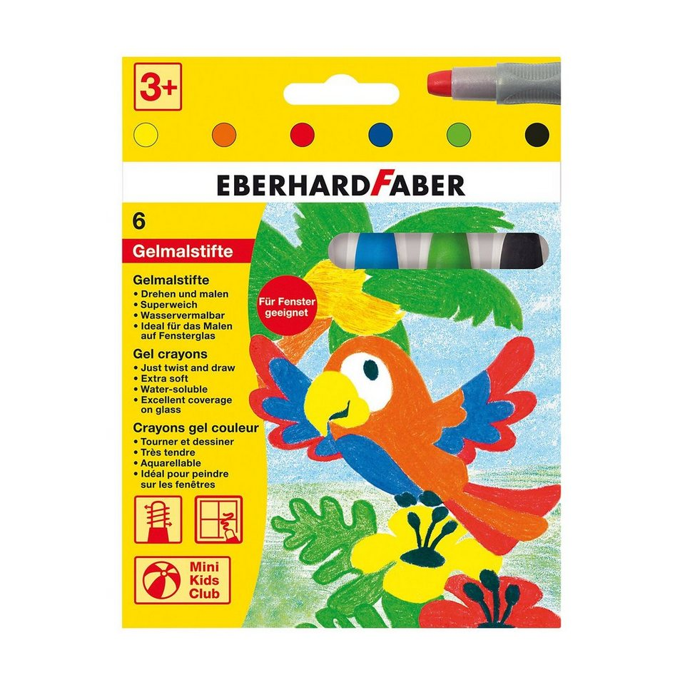 Eberhard Faber Mini Kids Gelmalstifte, 6 Basis-Farben