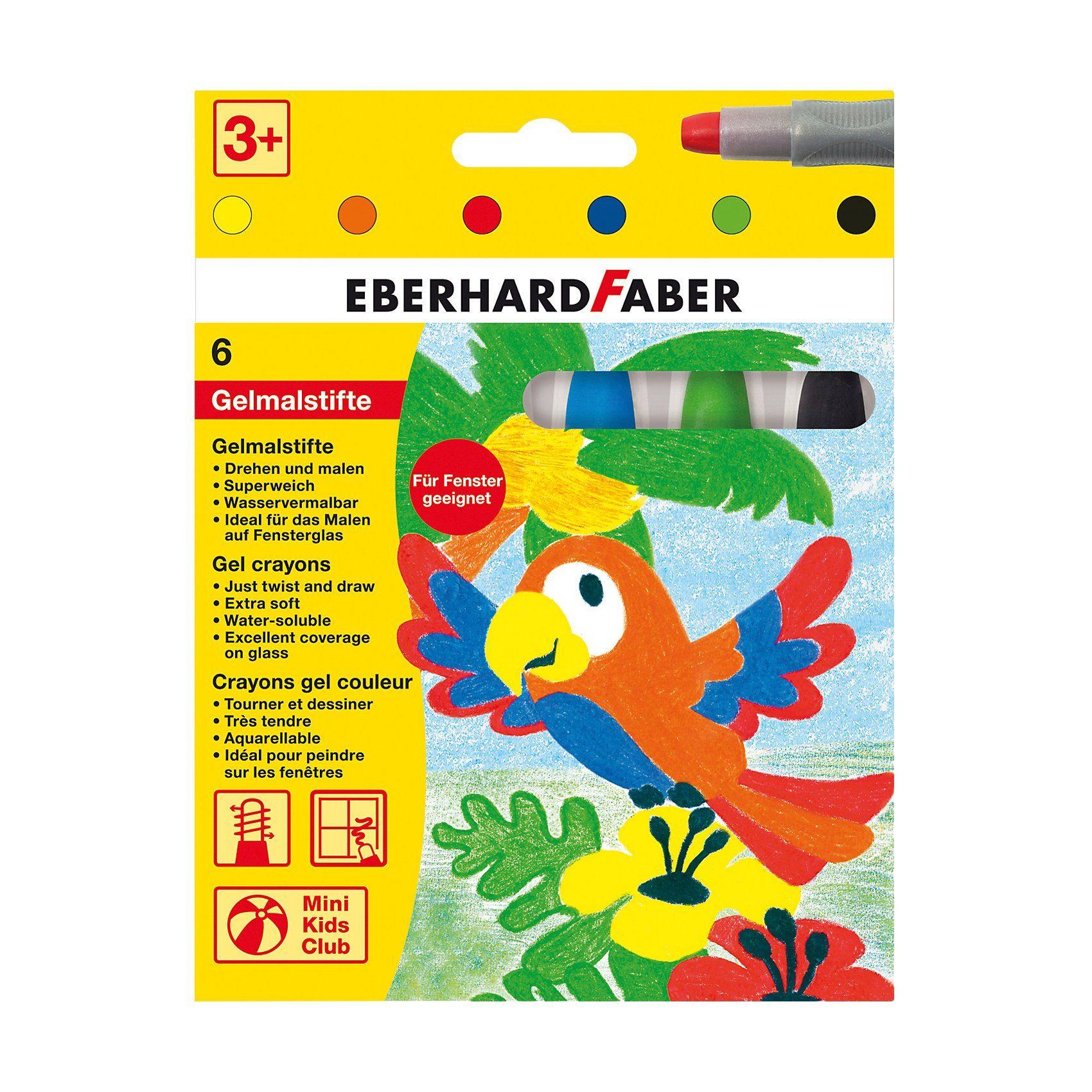 Eberhard Faber Mini Kids Gelmalstifte/Fenstermaler, 6 Basis-Farben